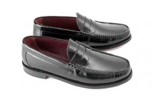 Ikon Albion Black Leather Penney Slip Loafer